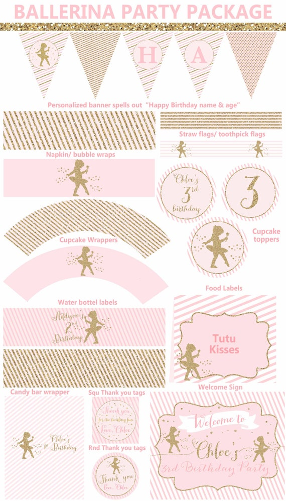 Ballerina Party Package Pink & Gold Ballerina Party Printables