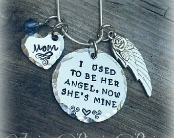 Memorial Necklace * I used to be her Angel, now she's mine - Personalize  - Mom -Birthstone - In Memory Of - Rest in Peace Mom