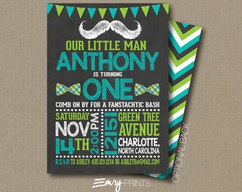 Mustache Birthday Invitaiton  / Moustache Bash / Boys First Birthday / 1st Birthday / Mustache First Birthday / Moustache 1st Birthday
