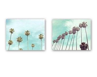 Palm Tree Prints, Set of 2 Photos, Fine Art Photography, Beach Wall Decor, California Art, Wall Art, Tropical Decor, Palm Tree Photography