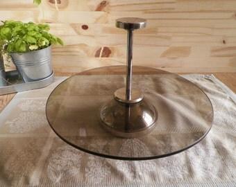 Round rotating smoked glass cake-presenter vintage 1960 | French Tableware 1960