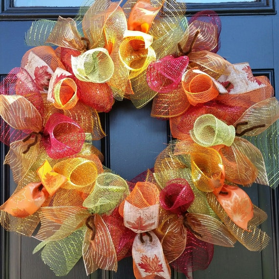 Sale Fall Wreath Autumn Wreath Deco Mesh Wreath By