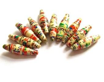 Ugandan recycled beads, African beads, handmade paper beads, slim beads, jewellery making, fair trade beads