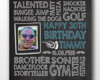 30th birthday, 30th birthday for him, birthday printable, 18th birthday gift for him, chalkboard birthday, 21st birthday gift for him