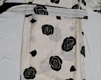REDUCED_VINTAGE FLORA KUNG black on tonal white silk dress with obi sash