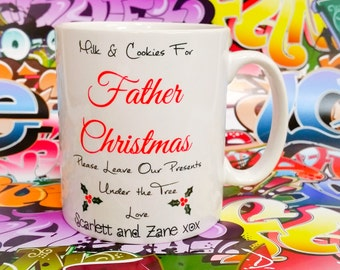 Milk and cookies for father chritsmas personalised mug