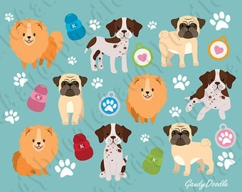 Dogs Clipart - Pomeranian, English Pointer, Pug