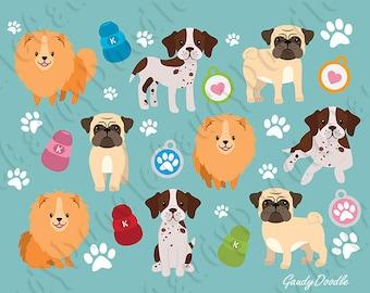 Dogs Clipart - Pomeranian, English Pointer, Pug