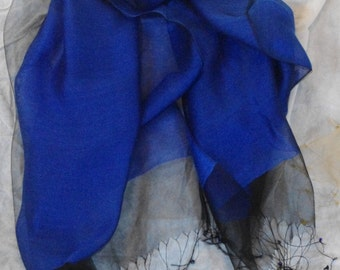 Royal Blue 100% Mulberry silk double organza wrap or scarf