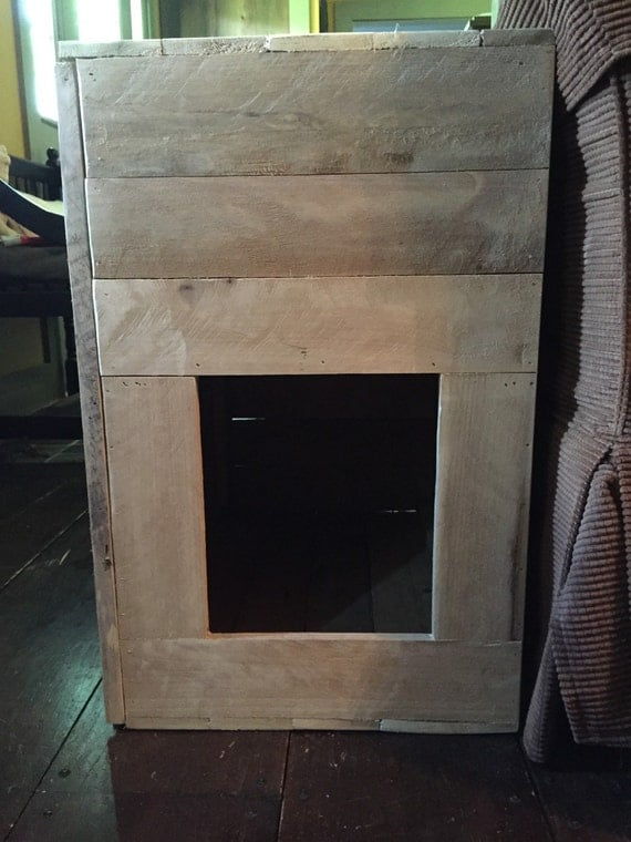 Rustic Cat House And End Table With Interior Shelf Animal