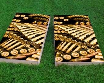 Golden Bullets Light Weight (1x4) Regulation Size Custom Cornhole Board Game Set - Corn Hole - Bag Toss