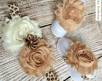 Baby Barefoot Sandals & Headband Gift Set-Nude and Cream Leopard -Soft Baby Flower Shoes - Newborn Shoes - Baby Shower Gift - Photo Props