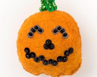 DIY Halloween Decorations - Felt Ornament Pattern - Halloween Decorations - Nice Jack-O-Lantern Pumpkin - Instant Download