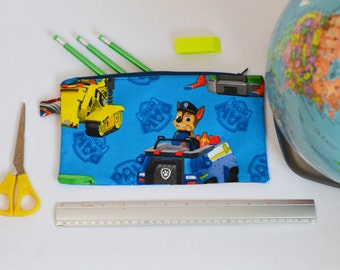 Paw Patrol, Zippered bag Made From Paw Patrol Fabric, Back to school Pencil case, Zipper Pouch.