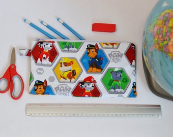 Zippered bag Made From Paw Patrol Fabric / Back to school Pencil case / Zipper Pouch