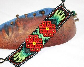 Huichol Bracelet, Peyote Bracelet, Beaded Bracelet, Native American Seed Bead Bracelet, Glass Bead Jewelry, Flower Bracelet, Hippie Bracelet