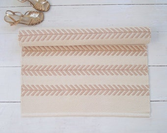 Ivory and beige cotton rug, scandinavian rug, cream rug, off white rug, handmade, reversible, woven on the loom, made to order