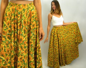 50s Yellow Floral Maxi Skirt | Rhinestone Studded Daisy Skirt Long | Small