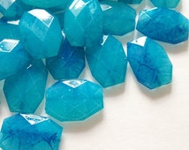 Blue Watercolor Large Beads - Turquoise and Royal Blue - Faceted Nugget Bead - FLAT RATE SHIPPING 34mmx24mm