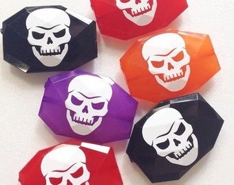 White Skull Beads in 19 Color Choices! Faceted, Gorgeous Halloween Beads - pick your bead color!