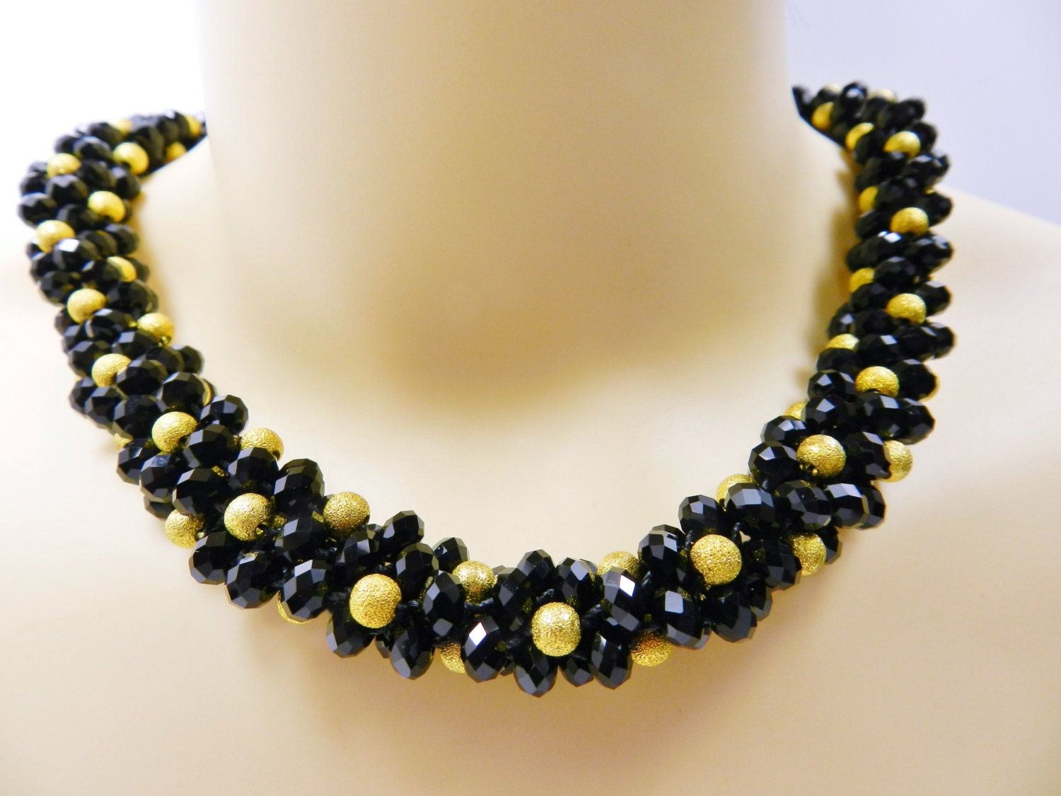 black and gold kumihimo necklace beaded kumihimo by