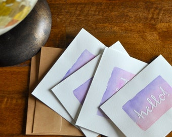 Set of Eight Hello Watercolor Cards