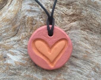 Clay Diffuser Necklace | Essential Oil Accessory | Aromatherapy Pendant | Hear Shape Diffuser