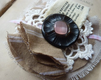 Fabric brooch, retro shabby chic linen, hook and antique buttons - Christmas gift