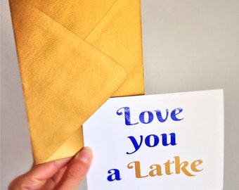 Love you a Latke in Gold - Funny Hanukkah Card with Envelope Sets - Metallic and sparkly - Jewish Chanukah