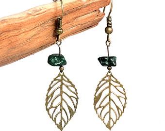 Gypsy hippie jewelry, malachite earrings, green gemstone jewelry, gypsy hippie earrings, malachite jewelry, natural gemstone earrings, wila