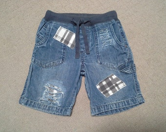 50% OFF SALE, denim shorts, small blue shorts, distressed denim, skater style, 3 4 year old, ripped frayed denim, check patch, Jeans shorts