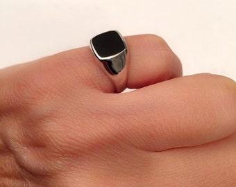 Signet Ring, women ring, men ring, Pinky ring, Onyx Ring. Silver Signet Ring, Black square Signet Ring, Man Pinky Ring, Woman Pinky Ring