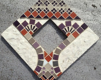 Birdface: Mosaic/Mixed media wall hanging mirror