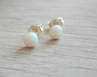 Opal stud earrings, silver opal earrings, opal earrings, classic earrings, stud earrings, sterling silver earrings