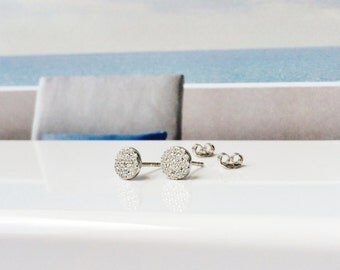 round dot earrings in solid sterling silver and cubic zirconia, post back and safe to get wet, ON SALE NOW