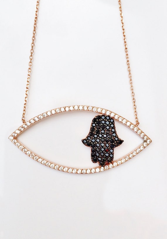 hamsa necklace rose gold cz  CLEARANCE!