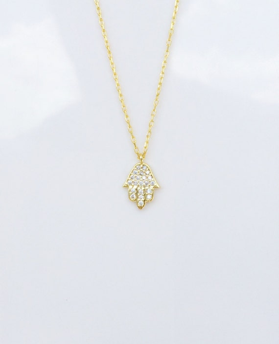hamsa necklace zirconia gold filled