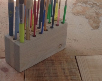 Wood Paintbrush Holder