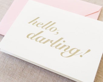 Letterpress Hello, Darling Greeting Card