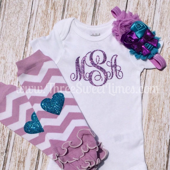 Items similar to Monogrammed Baby Girl Clothes