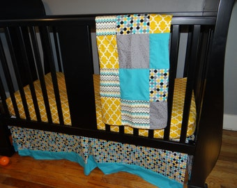 Crib Bedding Set, Fitted Sheet, Crib Skirt & Minky Patchwork Baby Blanket in yellow, teal, gray and black, Gender Neutral Nursery