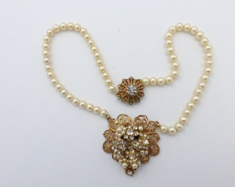 Original by Robert faux pearl and rhinestone pendant necklace AA374