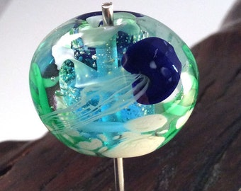 Cobalt Blue Jellyfish Lampwork Glass Focal Bead