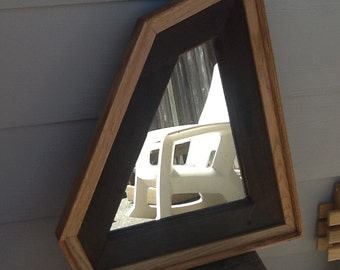 Handcrafted Oak and Redwood Mirror. All reclaimed Material