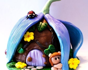 A Troll's Flower House with ladybugs polymer clay figure Made to Order