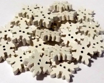 10 Wooden Snowflakes 17mm x 17mm - #C-00054