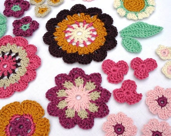 Flower appliques - mix of 21 colorful crocheted flowers and 4 leaves, Field of Flowers Set 03