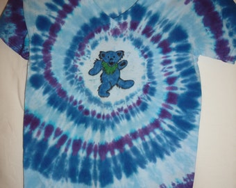 Hand Painted Tie Dyed Dancing Bear Shirt