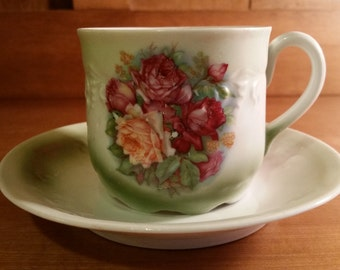 Demitasse Teacup and Saucer Hand Painted Rose Porcelain with Green Highlights