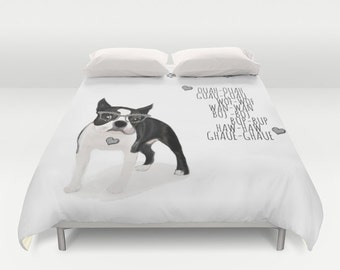 Dog Duvet Cover Boston Terrier - Full size/ King / Queen - Animals Puppy Pets Bedding Home Gift Apartment Loft Urban Decorative Bedroom Cute